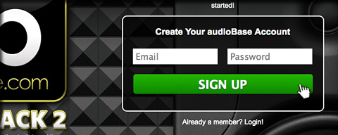 audioBase Upload Looppack Step 1 - Create an Account